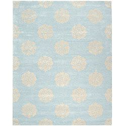 Handmade Soho Medallion Light Blue New Zealand Wool Rug (5' x 8') | Overstock.com