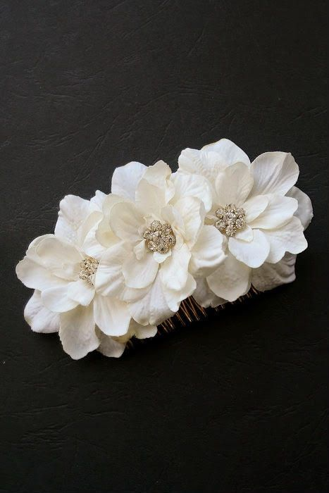 Ivory Wedding Hair Comb Bridal Silk Flower Hair by BelleBlooms