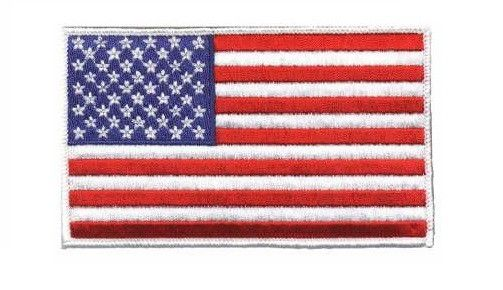 Classic American Flag Patch. Embroidered patch for military or just plain patriotic jackets or other clothing. Support your troops, support your country with this high quality embroidered American fla