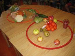 Voorbeeld venn-diagram bij kleuters, groente of fruit