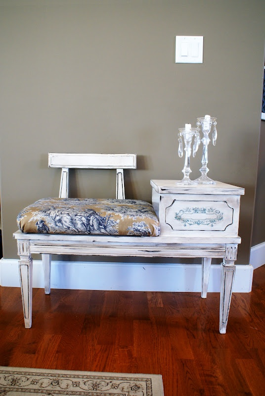 Vintage Telephone Table Bench ~Frenchified~
