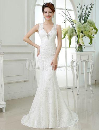 4ddd25de2 Vestido de novia de sirena con pedrería con cuello en V cintura natural  Cremallera sin mangas
