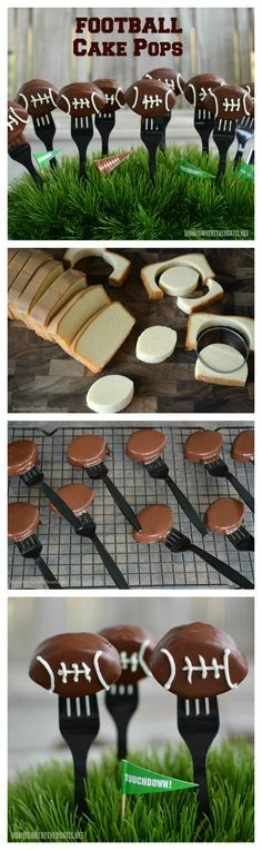 Football Cake Pops! Use frozen pound cake for a sweet ending to your game day line of football food! | homeiswheretheboatis.net #superbowlfood