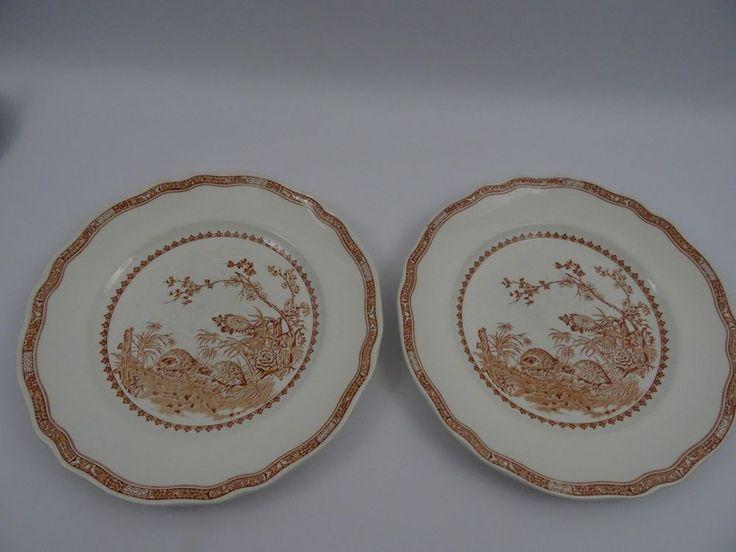 "2 Vintage Furnivals Quail Brown Dinner Plates 10.5""/26 cms 1930's"