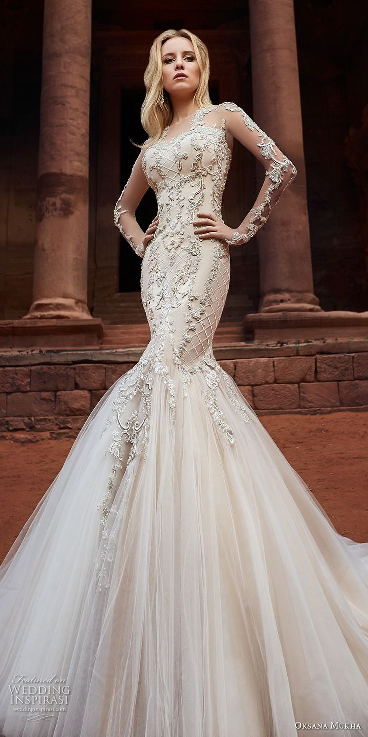 oksana mukha 2018 bridal long sleeves sweetheart neckline full embellishment tulle skirt glamorous mermaid wedding dress covered lace back royal train (armani) mv