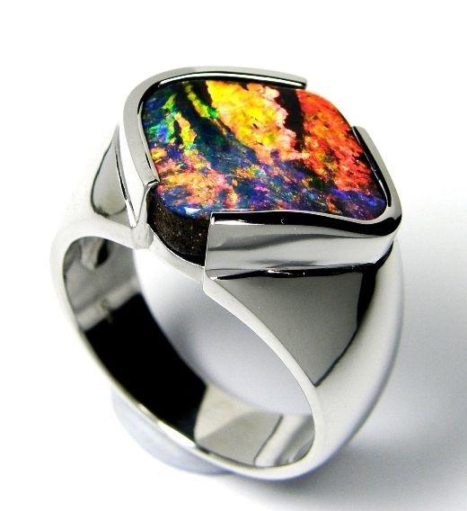 Man's Ring - Solid Australian Boulder Opal Ring in K18 WG. http://www.opal-direct.com