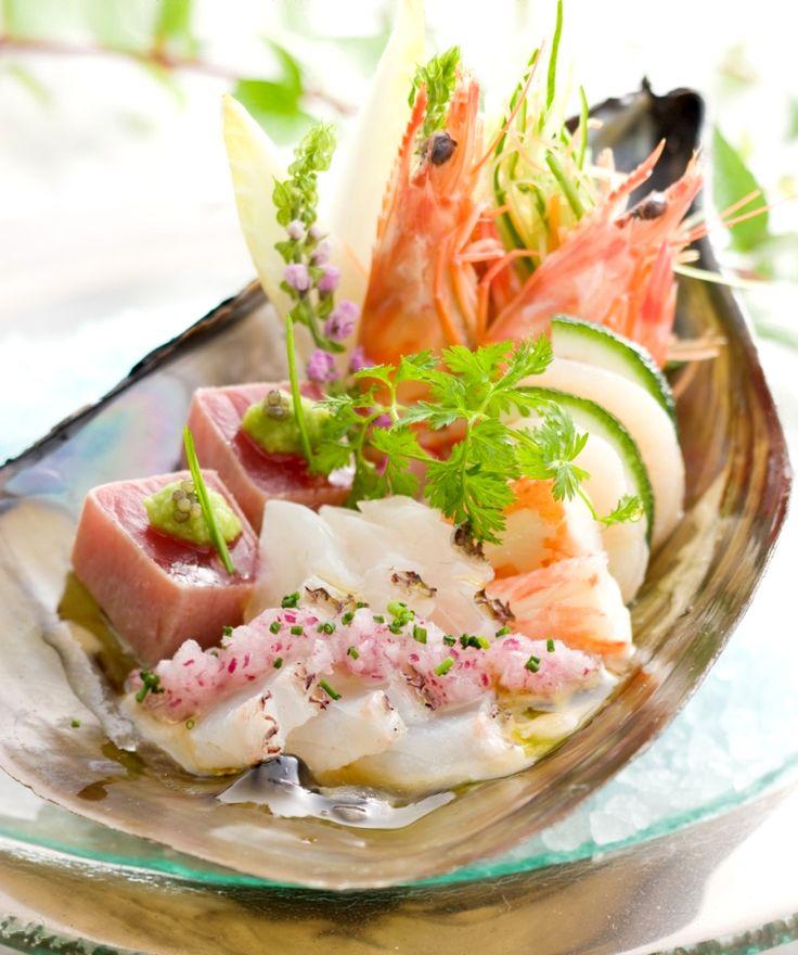Salad aux fruits de mer sauce vinaigrette de Yuzu ala japonaise