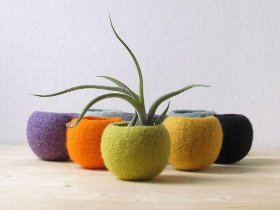 Felt succulent planter / Cacti terrarium / Colorful felt vases / olive green felt bowl / Make your own collection!
