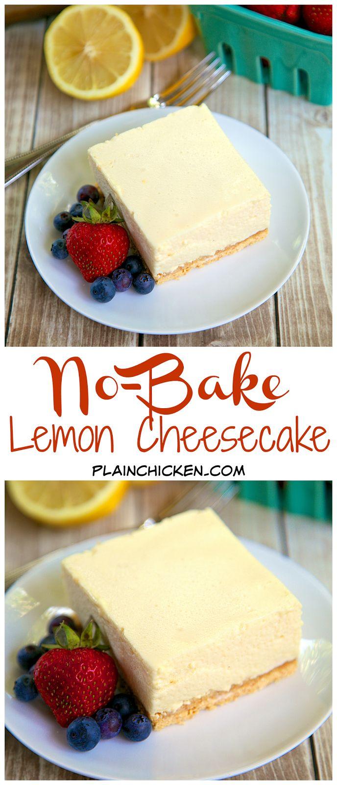 No-Bake Lemon Cheesecake Recipe - graham cracker crust, light and lemony no-bake cheesecake - SO good. THE BEST no-bake cheesecake EVER! Great with fresh berries.