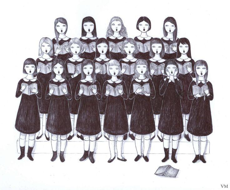 Artist Virginia Mori 's singing girls - but one is screaming : )