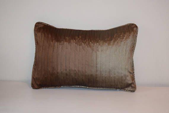 """Brown Lumbar Pillow, Chocolate Pillow, 12x18"""" Decorative Throw Pillows, Pillow Piping, Self Striping Lumbar Pillow, Sofa Pillow Covers"""