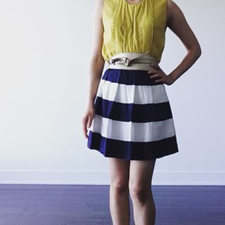 My casual outfit today is a striped skirt from #jcrew with pockets circa 2009 in an awning stripe silk, a leather gold obi belt from #whistles and a #thrifted #secondhand #philiplim3.1 silk yellow beaded top. #ootd #style #chic #fashion