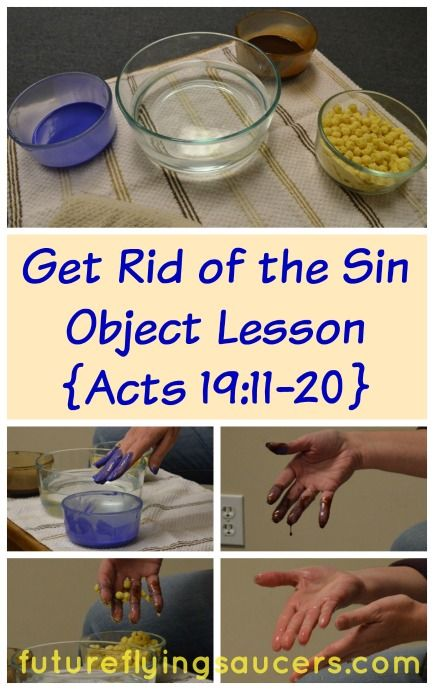 Paul stayed 2 years preaching and teaching in Ephesus. Here is a sin object lesson that teaches repentance with scripture from Acts 19. Use paint, chocolate syrup, cereal, and water to represent sin and how Jesus washed it away. ~ futureflyingsaucers.com