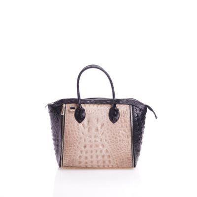 - Leder handtas met kokosnoot print in zwart met taupe
