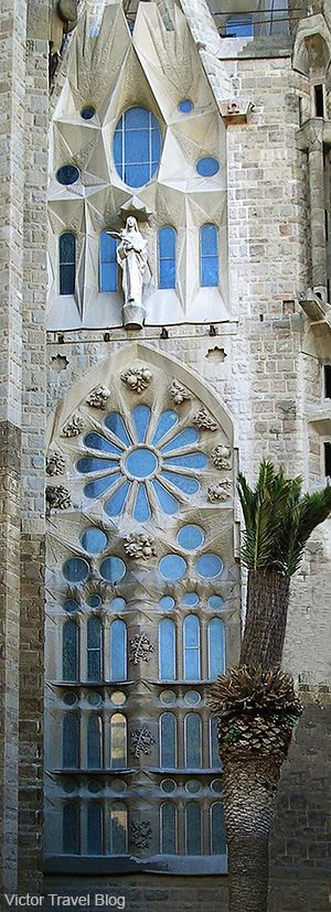 Fragment of Sagrada Familia by Antoni Gaudi in Barcelona. Catalonia, Spain. www.victortravelb...