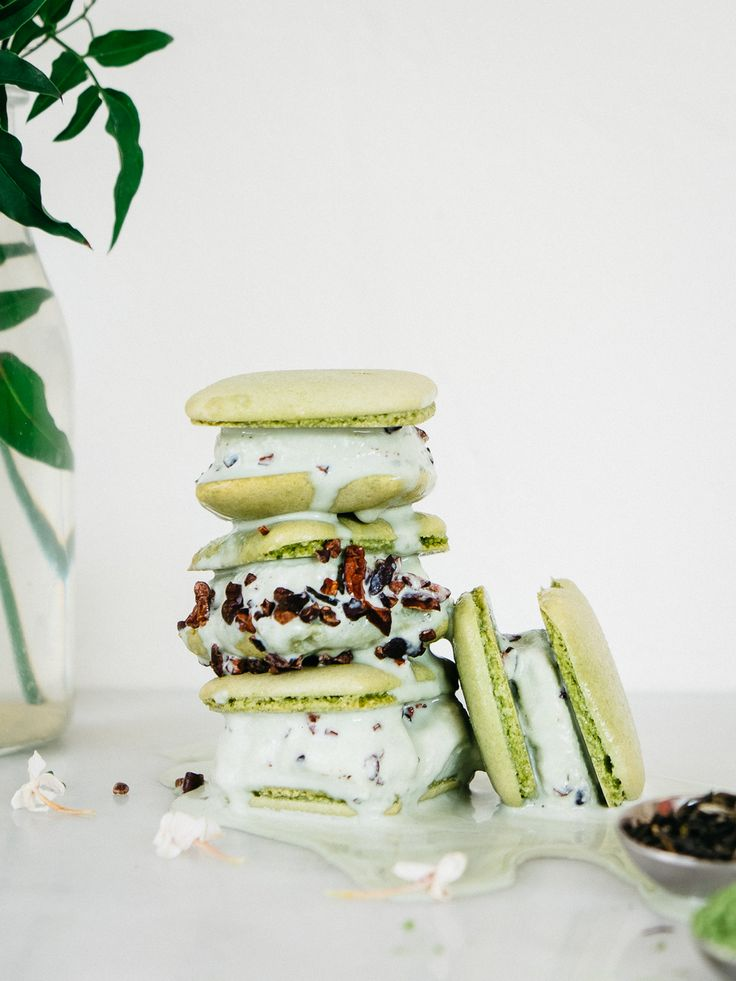 Matcha + Jasmine Macaron Ice Cream Sandwiches Recipe — Fix Feast ...