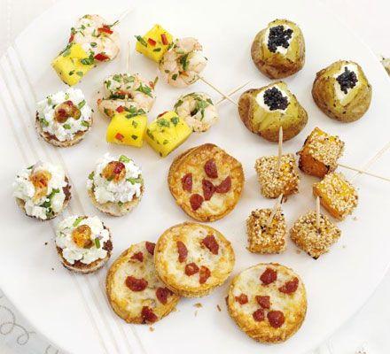 Mango & Prawn skewers, Little caviar jackets, Sticky squash with sesame seeds, Chorizo & chilli mini pizzas, Goat's cheese on toast