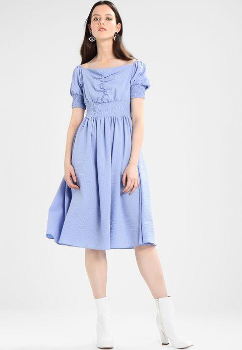 Lost Ink MINI STRIPE BARDOT FIT AND FLARE DRESS - Sukienka letnia - blue - Zalando.pl