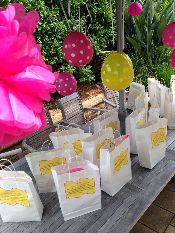 Pixie party bags - they hold all the craft pieces, bubble wands and on the outside are their pixie names and descriptions