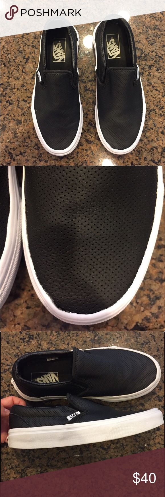 Black perforated fake leather vans These are a closet staple! They are comfy, cute and match everything.  I just need to clean out my shoe closet!! Worn a few times but in great condition. Women's size 6.5 Vans Shoes Sneakers