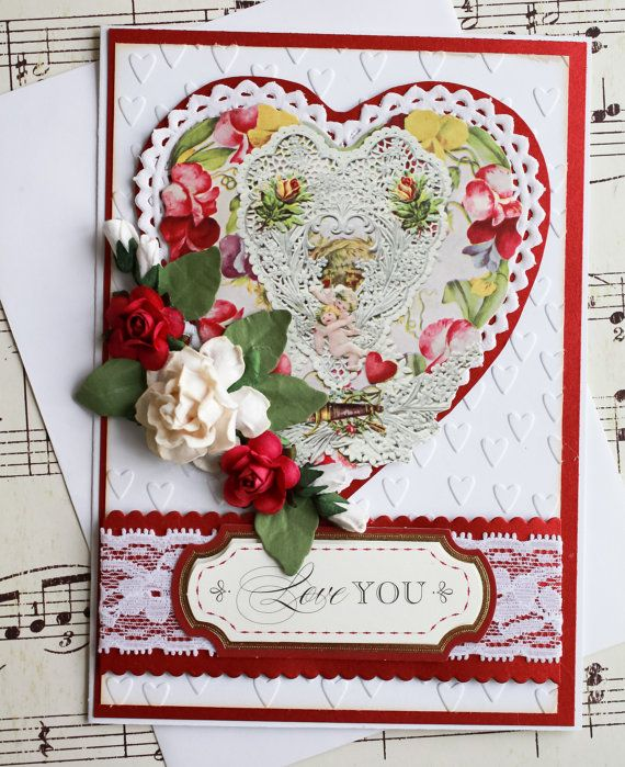 vintage inspired valentines day greeting card featuring three dimensional paper roses blank card