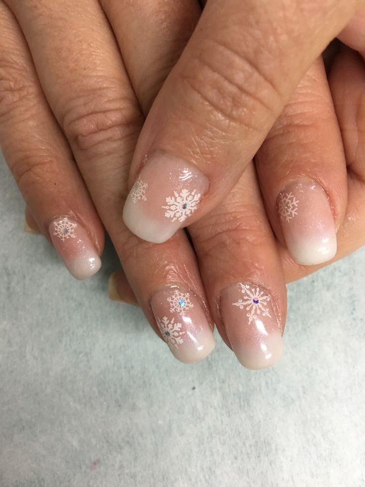 Natural White Ombr French Stamped Snowflake Gel Nails ...