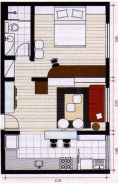 Plano de casa de 40 metros cuadrados