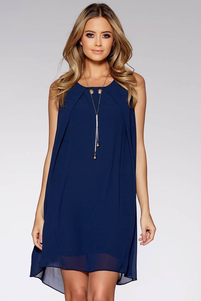 Quiz Navy Chiffon Necklace Tunic Dress Size M Uk 10 12 Rrp 24 99 Dh181 Gg 21 Fashion Clothing Shoes Acce Party Dresses For Women Dresses Evening Dresses Uk