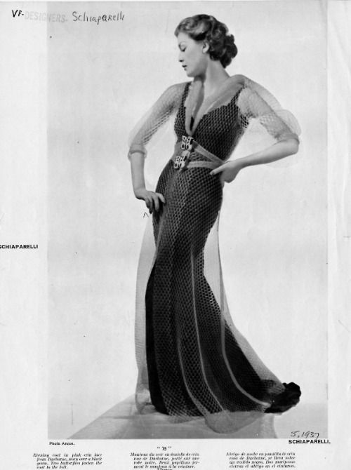 Elsa Schiaparelli evening gown, British Harper's Bazaar, 1937 May