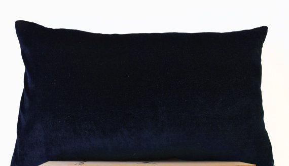 Navy Blue lush velvet and oatmeal linen  Velvet by AmoreBeaute