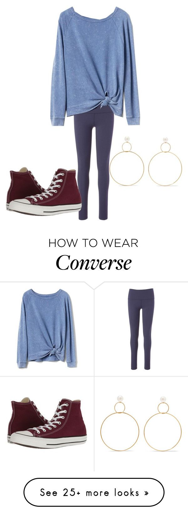 """Ally Burgundy"" by rabiaheart-13 on Polyvore featuring Beyond Yoga, Gap, Converse and Natasha Schweitzer"