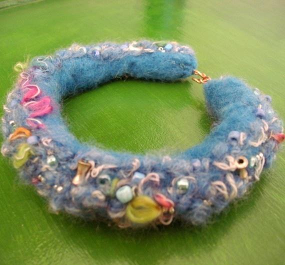 Needle Felted Bracelet with Beads