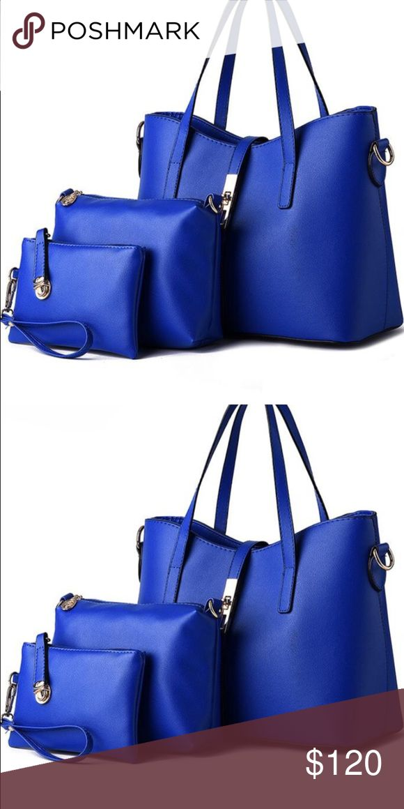 Assets Monica royal blue Handbag set. Assets Monica royal blue tote, baguette and clutch bags as a set.  Perfect for the busy professional.  A matching set for all that you have to carry in a day. Bags Shoulder Bags