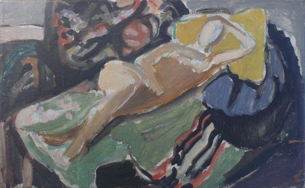 Rozsda Endre: A barna Maja / The Brown Maja - 1940 - 38x61 cm olaj, vászon I oil on canvas