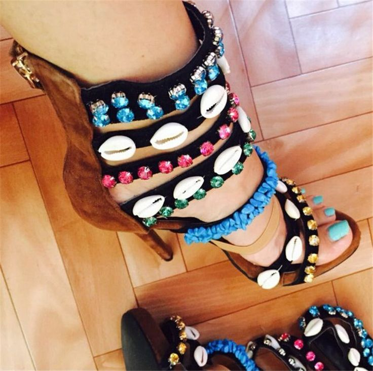 Coline Embellished Suede Gladiator Sandals Women Boots High Heels Shell Beading Strappy Women Pumps Shoes Woman Sandalias Mujer alishoppbrasil