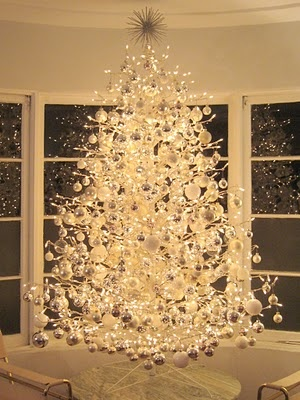 White outdoor tree with ornaments