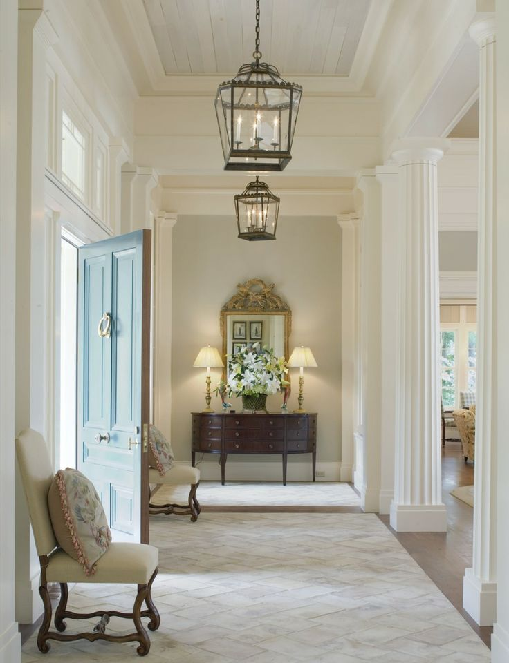 Entry way ~ note ceiling and pendant lanterns