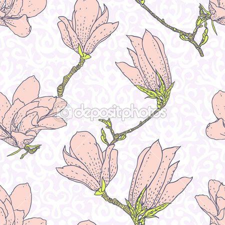 Винтаж Векторный узор с цветами розовая магнолия — стоковая иллюстрация #41467751