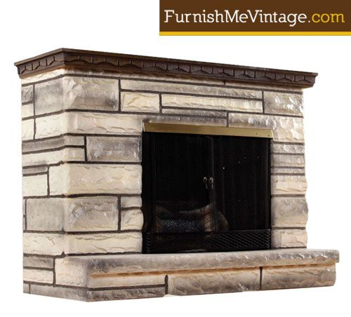 Mid Century Vintage 1960s Faux Marble Fireplace Working