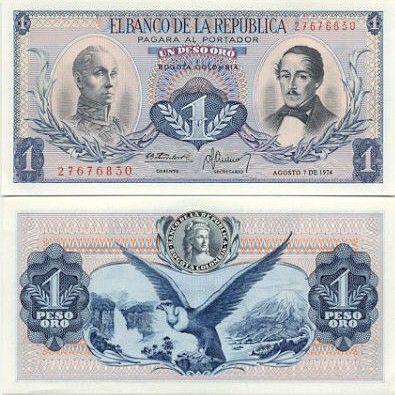 Colombia 1 Peso Oro 1968 ~ Obverse: Simon Bolivar; General Francisco de Paula Santander. Reverse: Liberty; condor; waterfall; mountain.