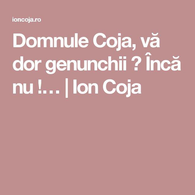 Domnule Coja, vă dor genunchii ?  Încă nu !…   Ion Coja