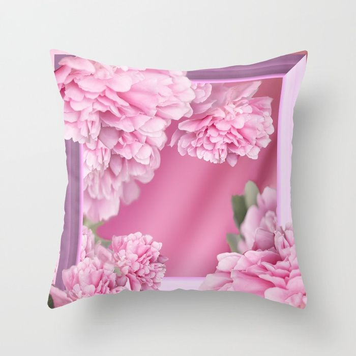 Pink Peonies In Frame #decor #society6 #buyart Throw Pillow