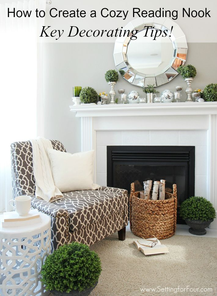 How to Create a Cozy Reading Nook - Key Decorating Tips including how to mix metals! www.settingforfour.com