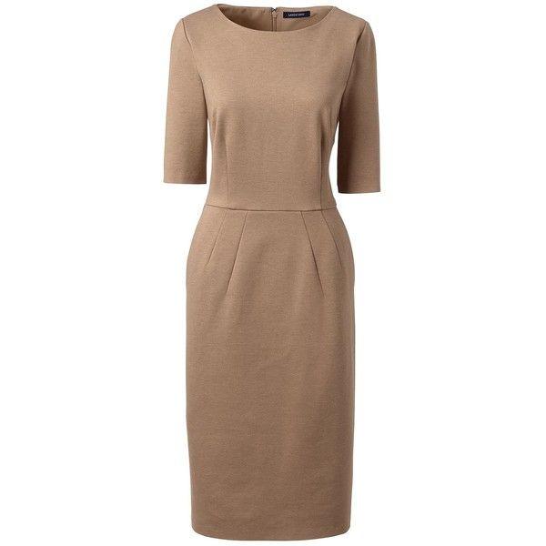 Lands' End Women's Petite Elbow Sleeve Ponté Sheath Dress ($79) ❤ liked on Polyvore featuring dresses, brown, elbow length dresses, petite dresses, brown dresses, slim fit dress and elbow sleeve dress