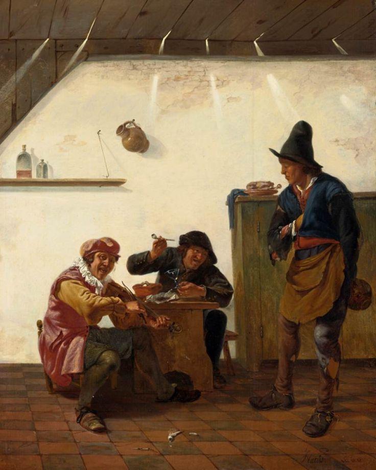 """""""Peasants Smoking and Making Music in an Inn"""". Johannes Natus. 1660. Colección Privada -          Esta simple obra de arte nos muestra muchas cualidades del hombre campesino. Primero, la vestimenta era sencilla: sombrero, camisa manga-larga con un chaleco de cuero o tela gruesa encima, pantalones """"pescadores"""" con los pantaloncillos por debajo, y botas de cuero. Ademas, nos muestra la actitud alegre que siempre mostraba... o será el vino?"""