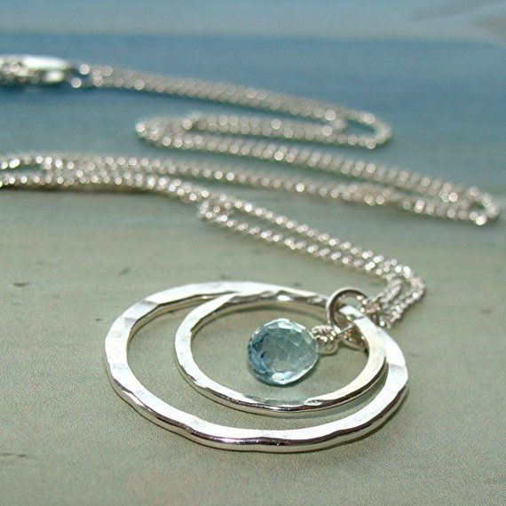 Watery Moon Necklace  Aquamarine gemstone briolette and by DalMare, $75.00