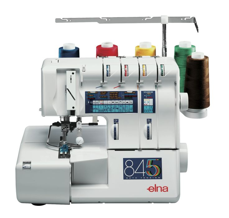 The easy-to-use Elna 845 gives you professionally finished seams, quickly sewing and trimming at the same time. You have a choice of a wide range of built-in stitches, too. #elna #overlock #elna845