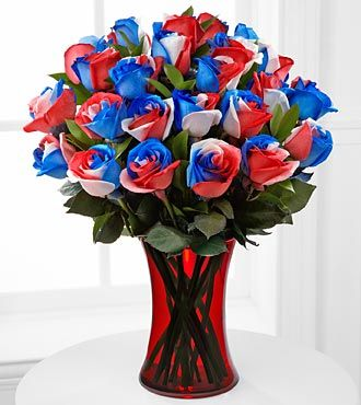 Bless the U.S.A. Fiesta Rose Bouquet - 24 Stems - VASE INCLUDED