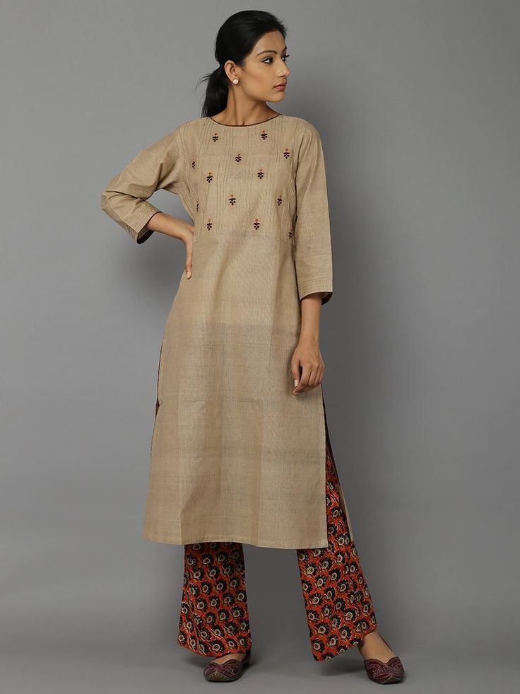 Beige Embroidered Cotton Kurta with Maroon Printed Cotton Palazzo - Set of 2