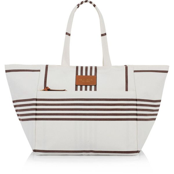 Henri Bendel Large Canvas Tote ($98) ❤ liked on Polyvore featuring bags, handbags, tote bags, chipmunk, striped canvas tote bag, zipper tote, white tote bag, striped beach tote and zippered beach tote